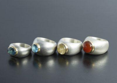 Ringe: Silber, Gelbgold und Farbsteine