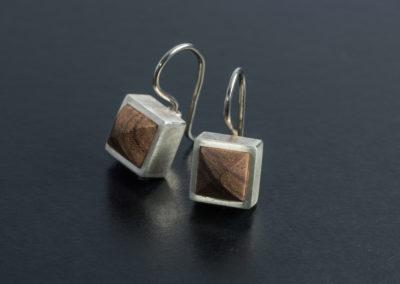 Ohrhänger: Silber mit Rosenholz