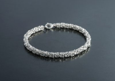 Bracelet: Königskettenmuster in Silber