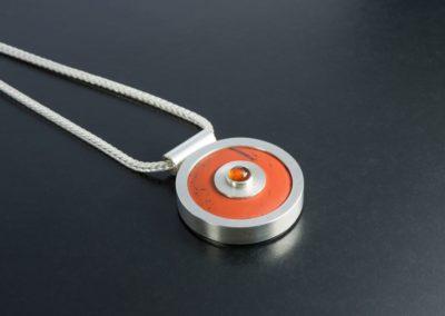 Anhänger: Silber, Jaspis Pi-Stone mit Mandarin Granat