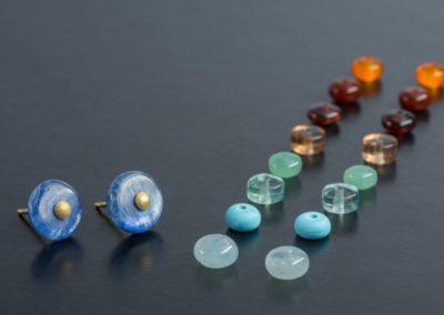 Ohrstecker: Auswechselbare Steine, System in Gelbgold oder Silber