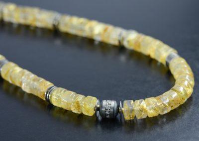 Kette: Rutilquarz mit Diamanten und Weissgold