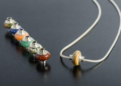 Kette: Auswechselbare Halbedelsteine mit Silber, Fuchskette  in Silber matt
